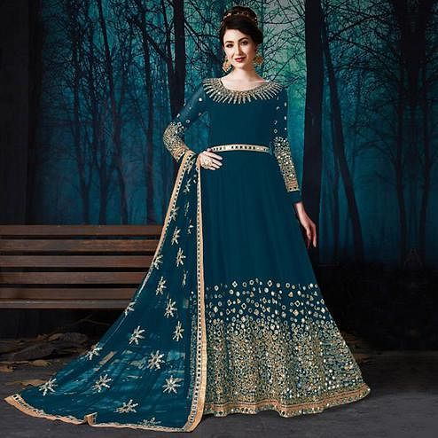 Exclusive Rama Blue Colored Partywear Embroidered Georgette Anarkali Suit