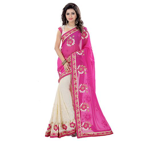 Cream - Pink Embroidered Saree
