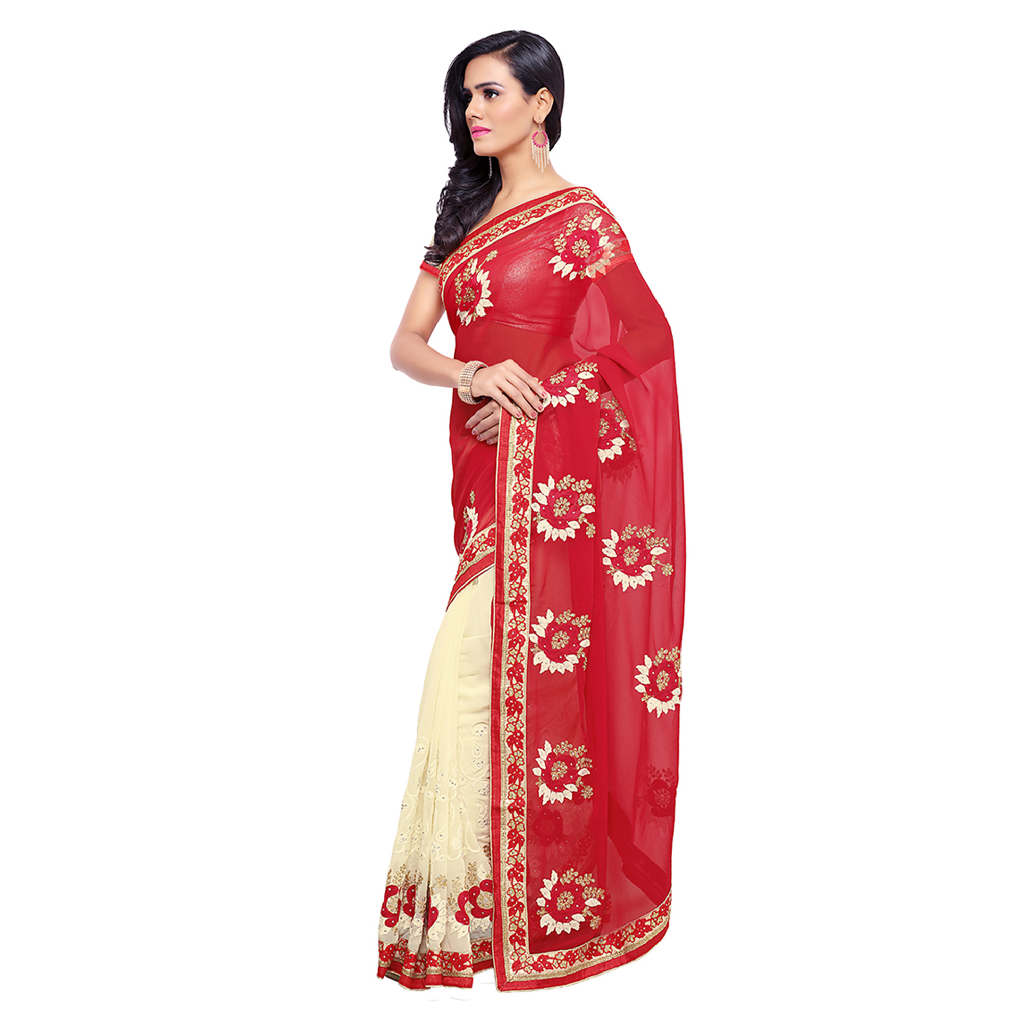 Cream - Red Georgette Half Saree
