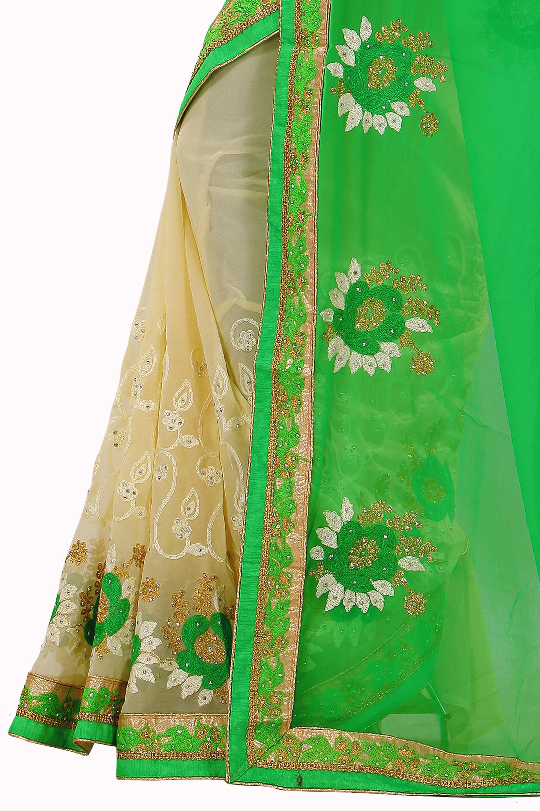 Cream - Green Half & Half Saree