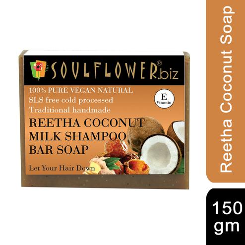 Soulflower Reetha Coconut Milk Hair Cleansing Bar Soap 150gm
