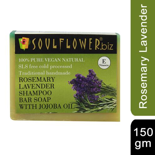 Soulflower Rosemary Lavender Hair Cleansing Bar Soap with Jojoba oil 150gm