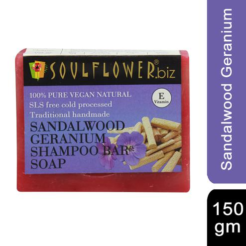 Soulflower Sandalwood Geranium Hair Cleansing Bar Soap 150gm