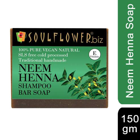 Soulflower Neem Heena Hair Cleansing Bar Soap 150gm