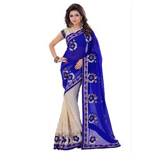 Cream - Blue Floral Embroidered Saree