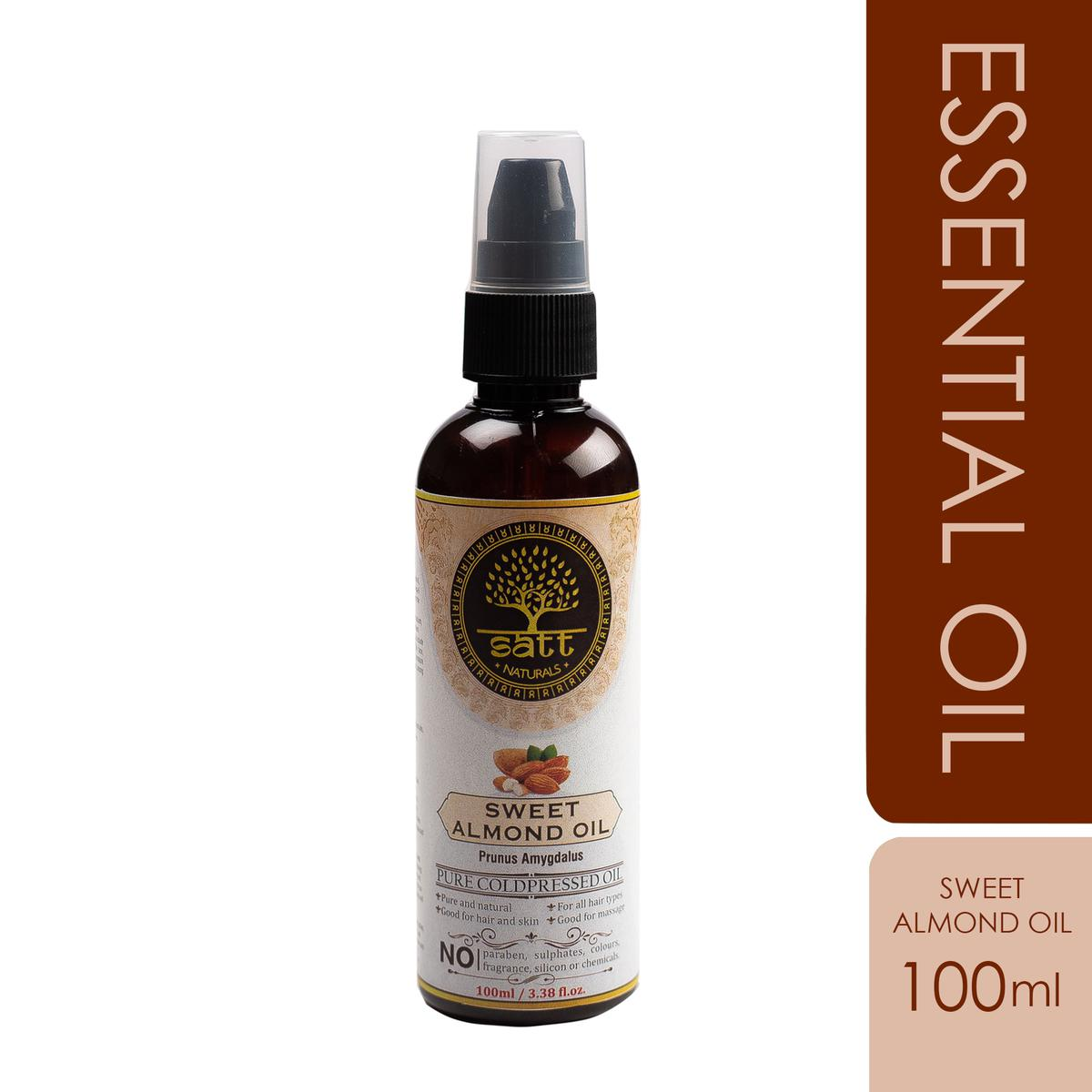 Satt Naturals Pure Sweet Almond Essential Oil For Hair-Skin Care-Body Masssage Aroma Threapy 100ml