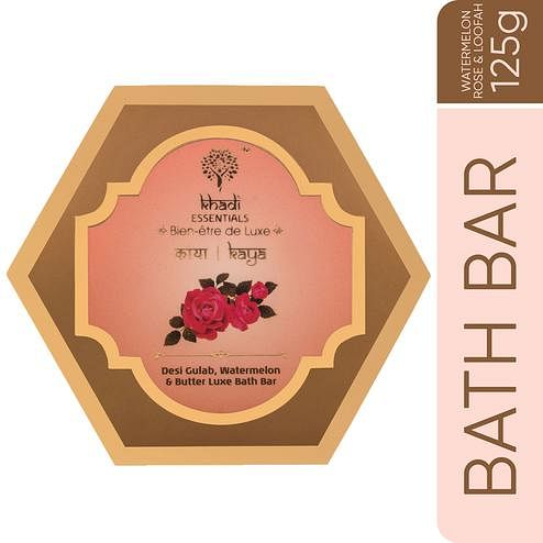 Khadi Essentials KAYA Pure Rose-Watermelon-Butter Gentle Exfoliation Handmade Natural Loofah Soap