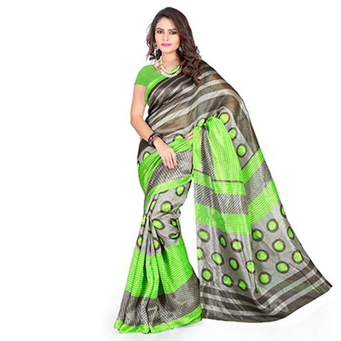 Green - Grey Casual Wear Saree