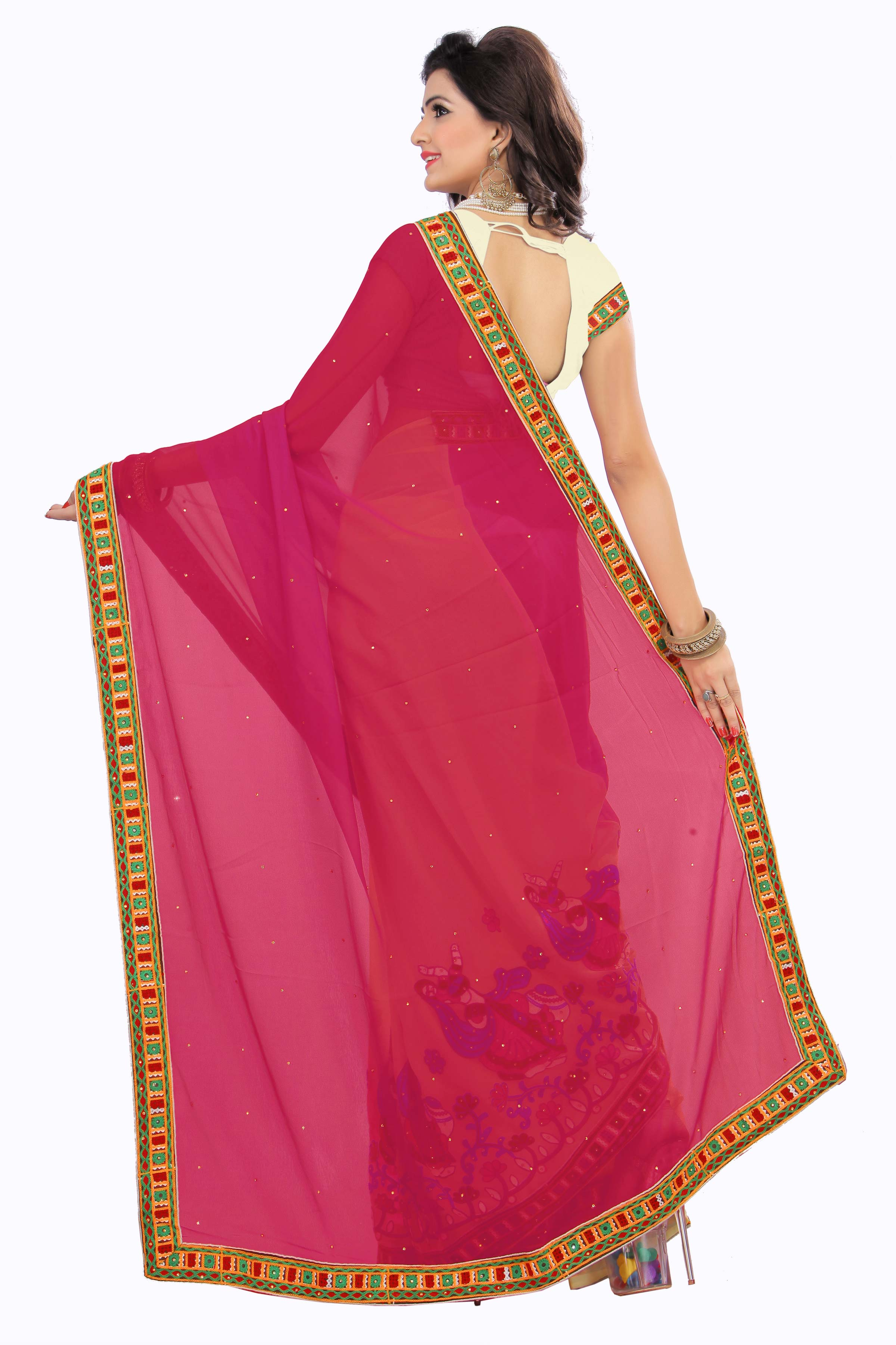 Off White - Pink Georgette Embroidered Saree