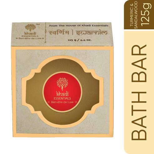 Khadi Essentials SWARNIM Turmeric-Sandalwood-Lodhra Purifying Handmade Soap with Castor Butter