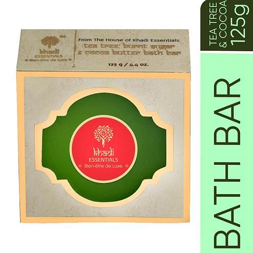 Khadi Essentials Tea Tree-Calendula-Tulsi Skin Clearing Handmade Soap with Burnt Sugar-Cocoa