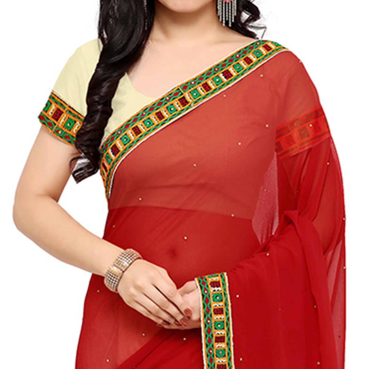 Off White -Red Georgette Embroidered Saree