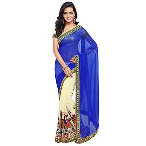 Off White - Blue Georgette Half Saree