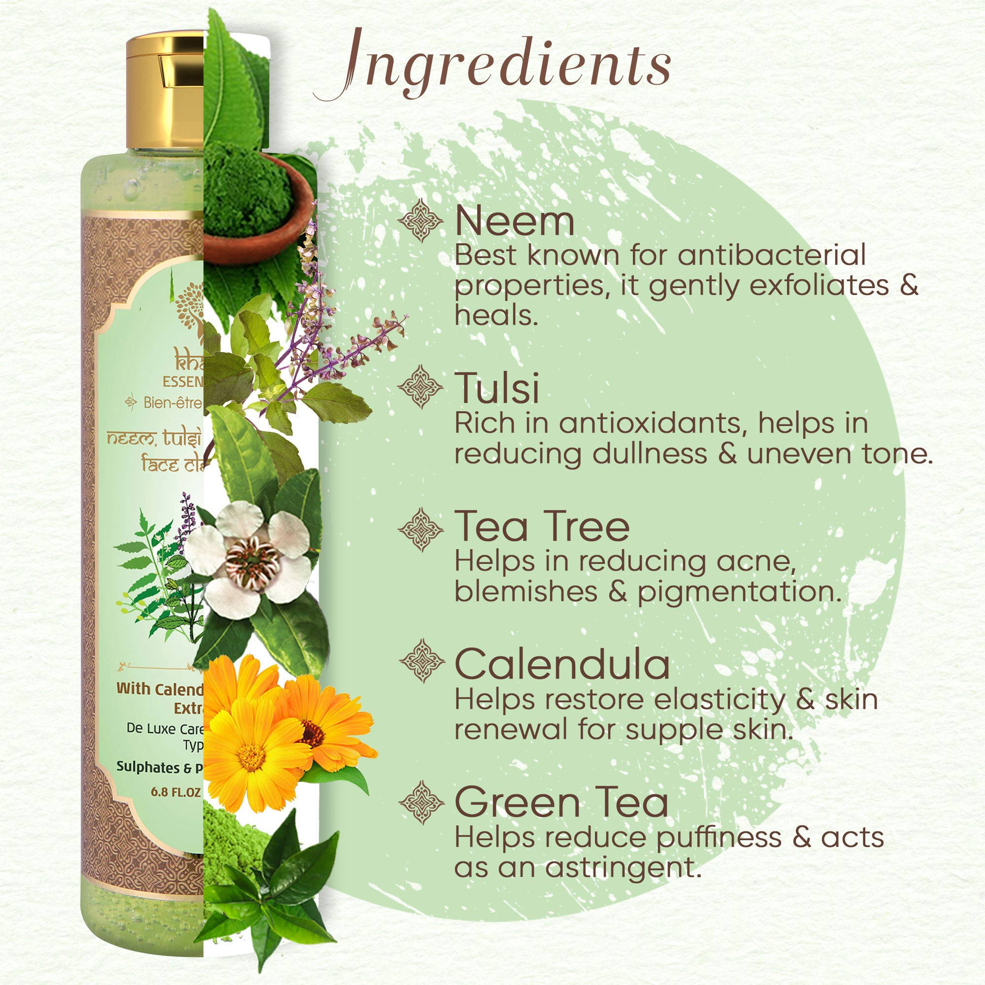 Khadi Essentials Neem-Tulsi-Tea Tree Face Wash with Green Tea for Acne-Blemishes-Pigmentation