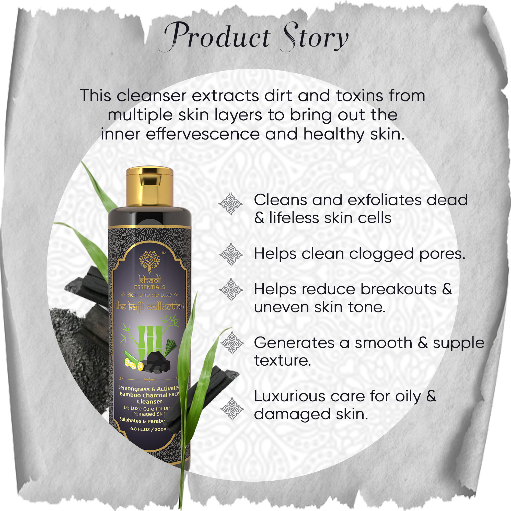 Khadi Essentials Activated Bamboo Charcoal-Lemongrass Face Cleanser with Clay for Oily-Dull Skin