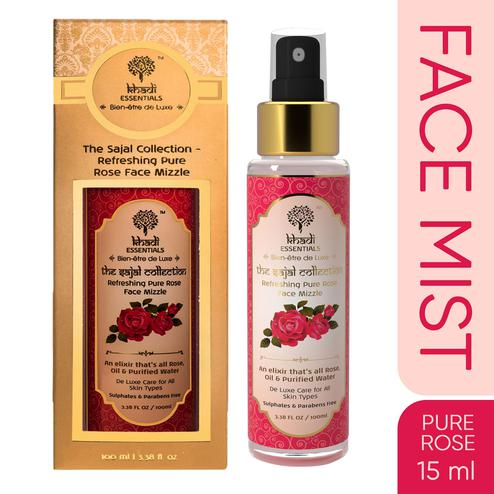 Khadi Essentials Refreshing Pure Rose Oil-Purified Water Face Mist for Normal to Dry Skin