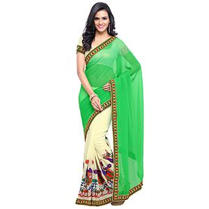 Off White - Green Embroidered Saree