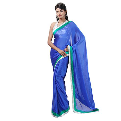 Blue Lace Work Party Wear Saree