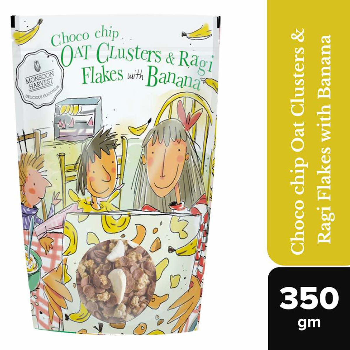 Monsoon Harvest Choco Chip Oat Clusters & Ragi Flakes with Banana 350gms