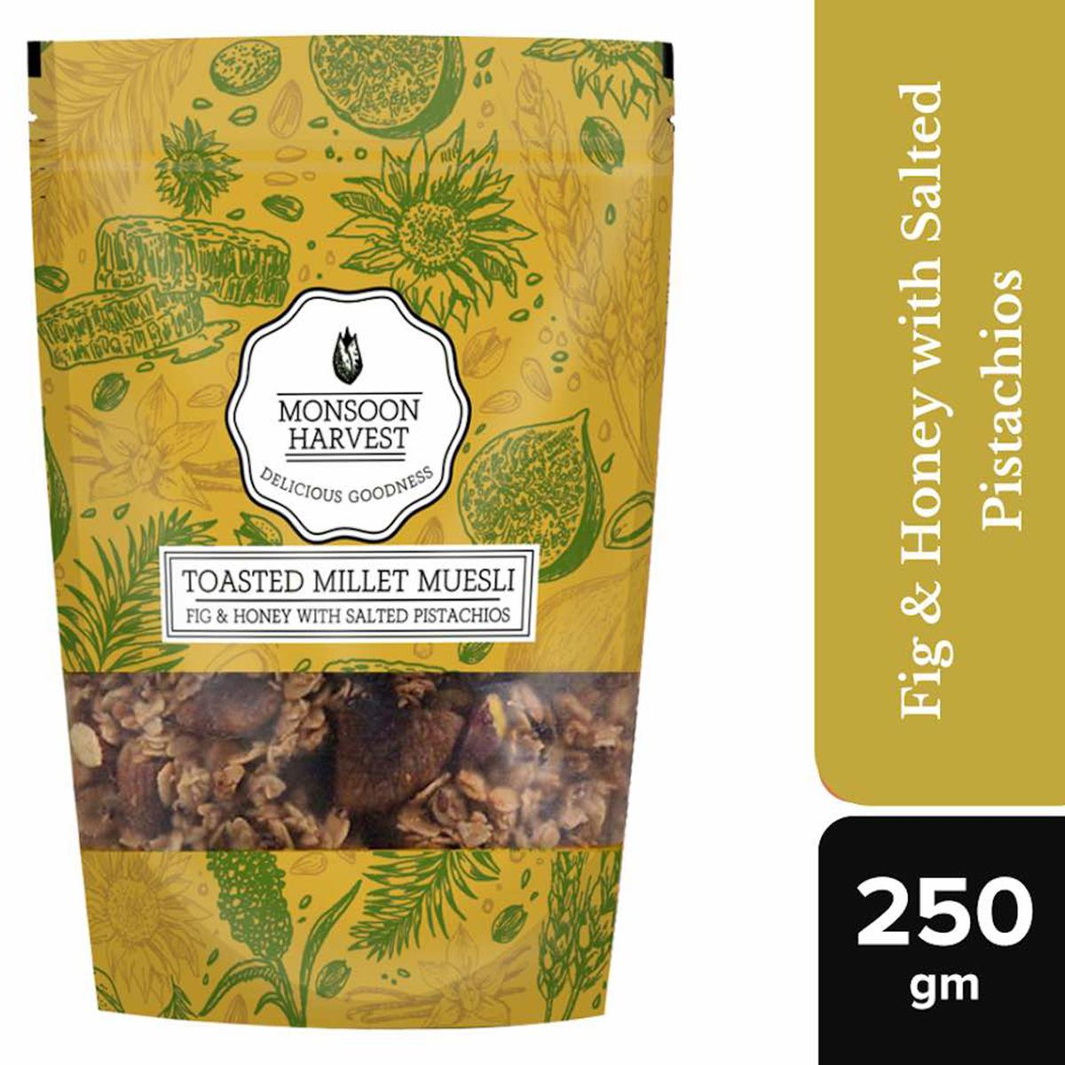 Monsoon Harvest Toasted Millet Muesli Fig & Honey with Salted Pistachios 250gms