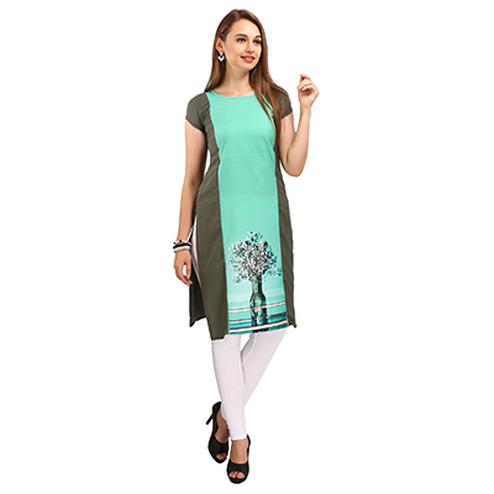 Grey - Green Casual Printed Kurti