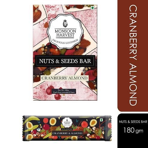 Monsoon Harvest Nuts & Seeds Bar - Cranberry & Almond (Pack of 6) 180gms