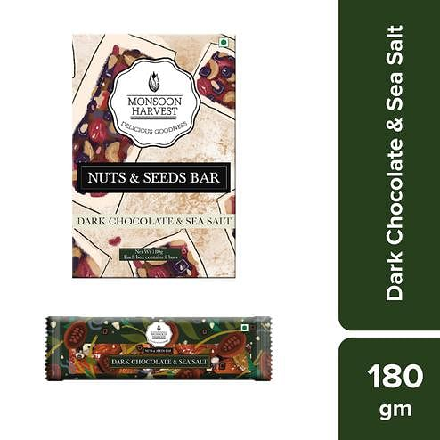 Monsoon Harvest Nuts & Seeds Bars - Dark Chocolate & Sea Salt (Pack of 6) 180gms