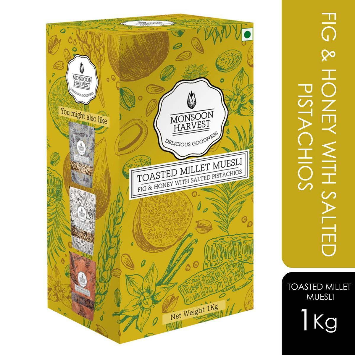 Monsoon Harvest Toasted Millet Muesli Fig & Honey with Salted Pistachios 1000gms