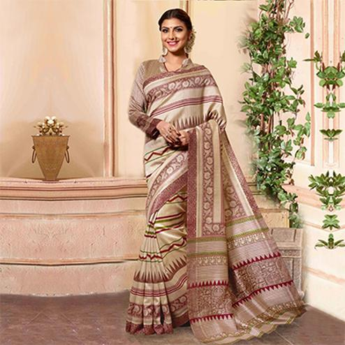 Beige - Brown Printed Silk Saree