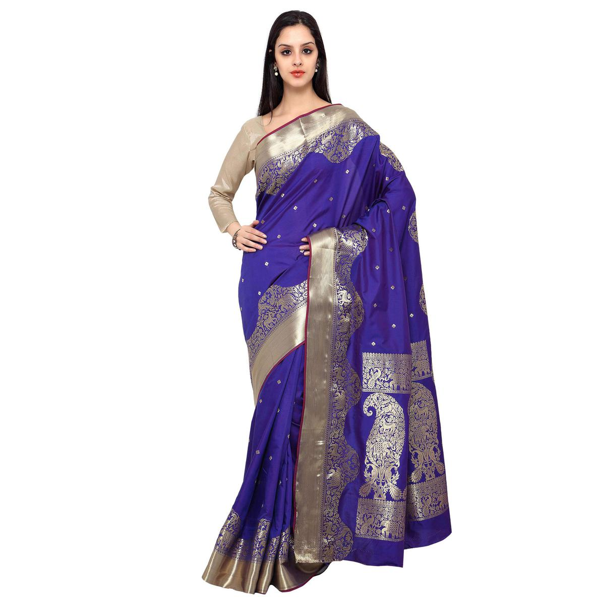 Royal Blue - Violet Kanjivaram Art Silk Saree