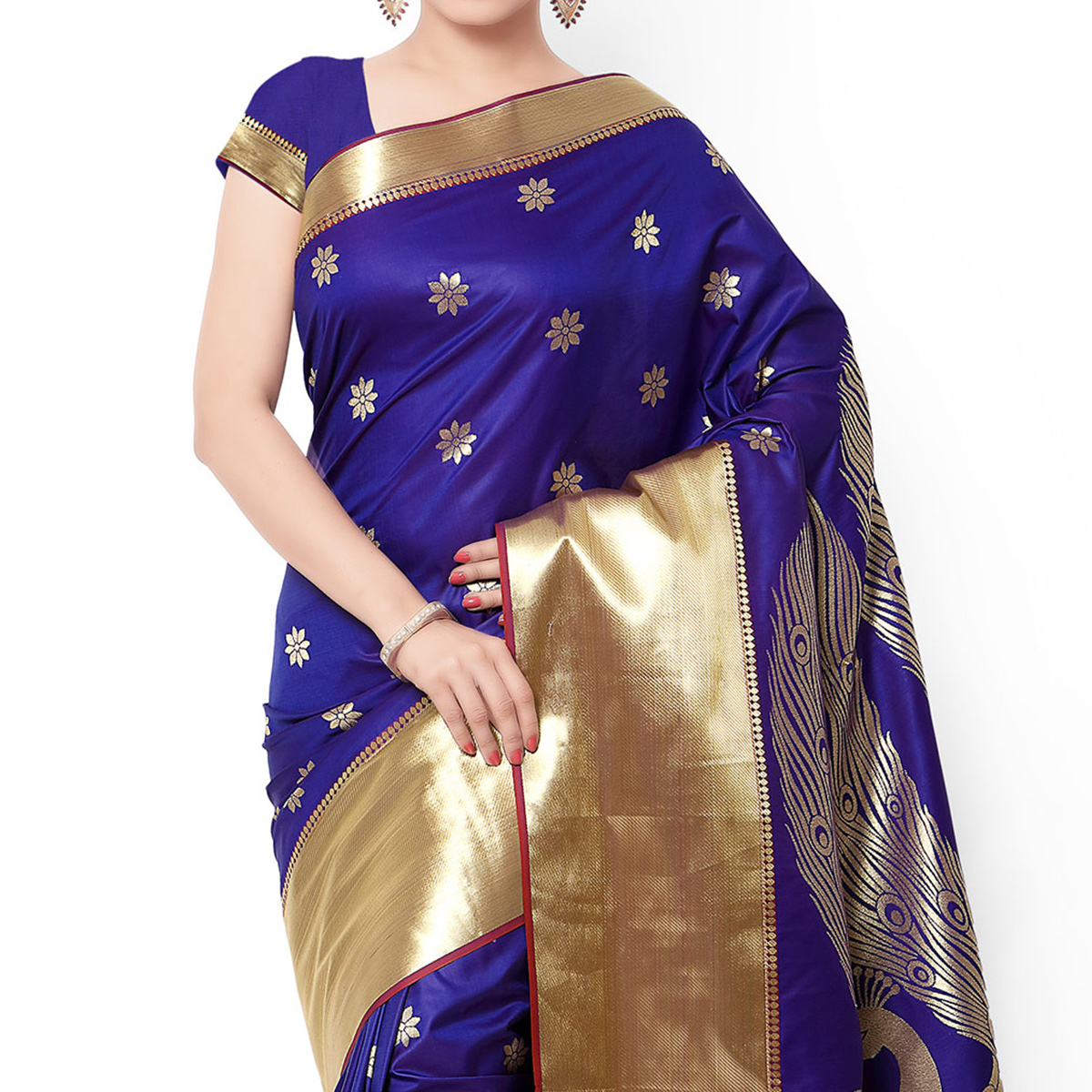 Royal Blue - Violet Art Silk Saree