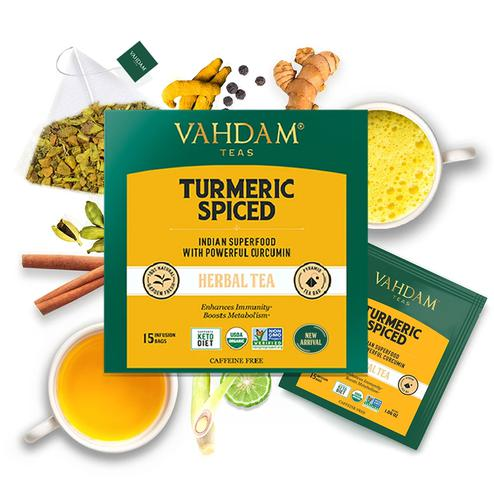 VAHDAM Turmeric Spiced Herbal Tea Tisane- 15 Tea Bags 30gms