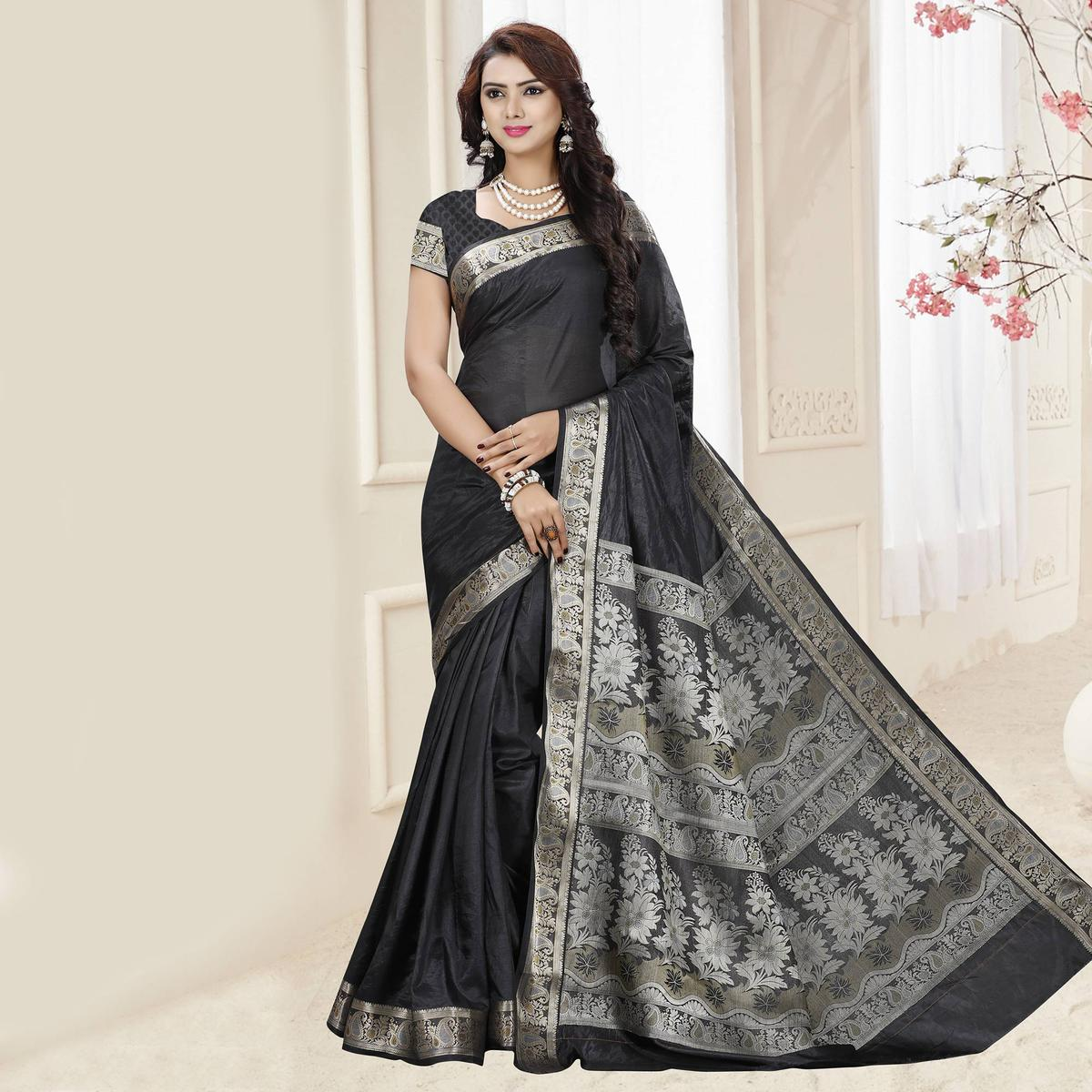 Black Tussar Silk Weaved Saree