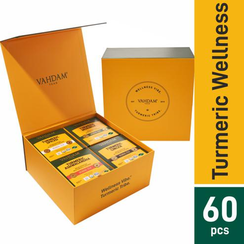 VAHDAM Turmeric Wellness Kit - 60 Tea Bags 120gms