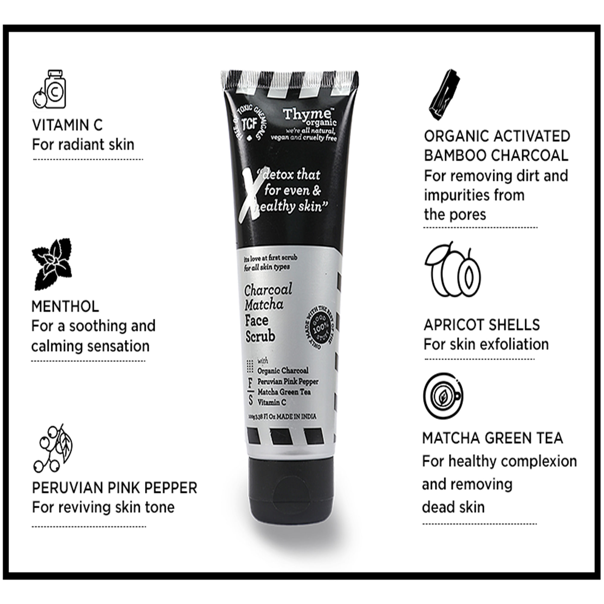 Charcoal Matcha Face Scrub - with Organic Activated Bamboo Charcoal - Toxic Chemical Free ( 100 G )