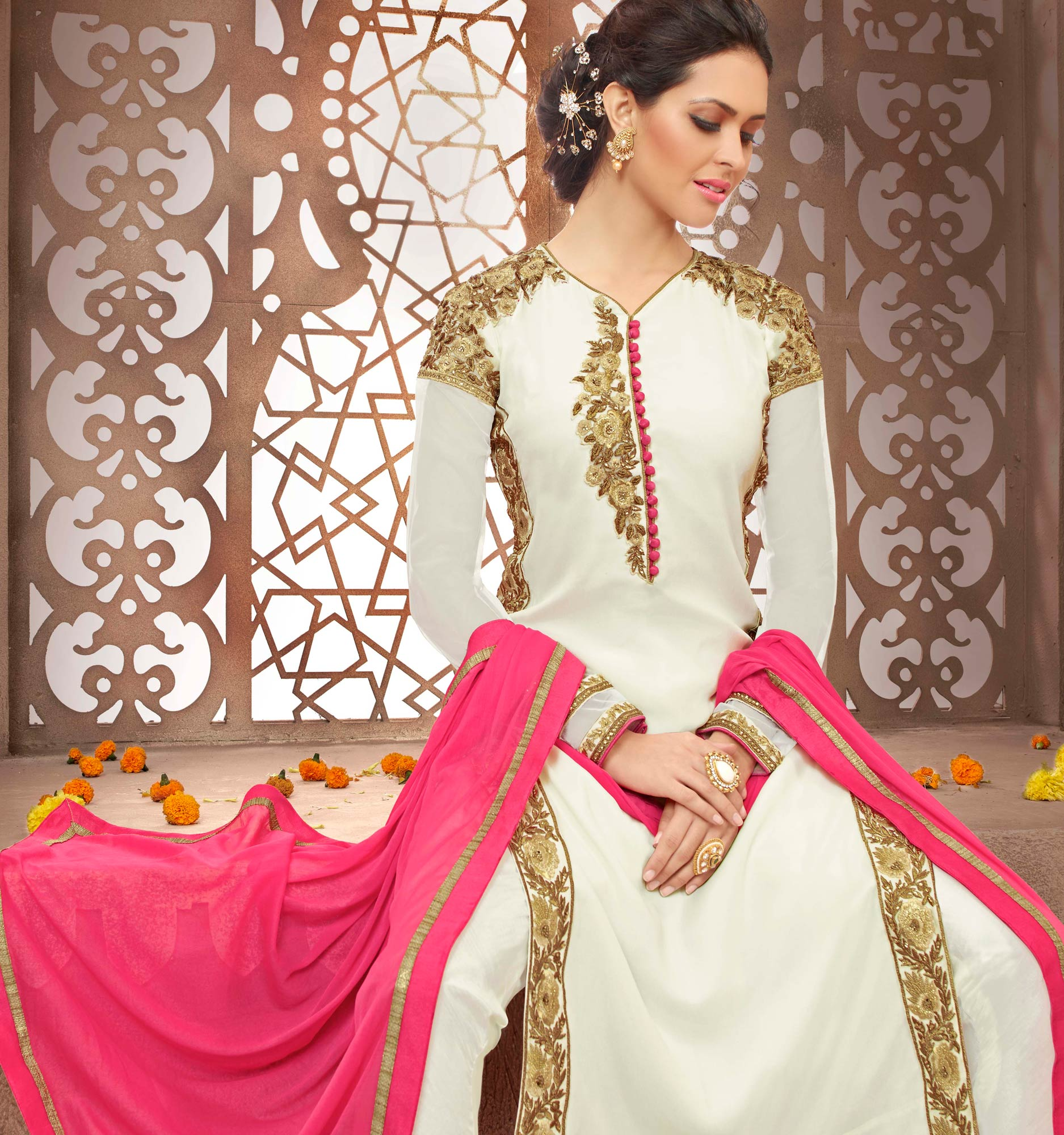 White Embroidered Work Salwar Suit