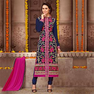 Navy Blue - Pink Straight Cut Suit