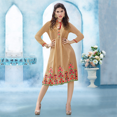 Beige Embroidered Georgette Kurti