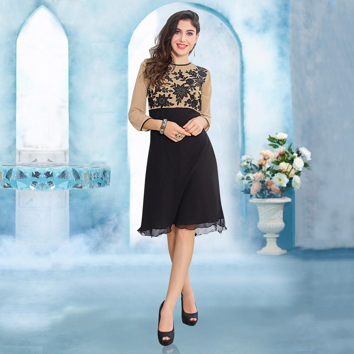 Black - Beige Embroidered Georgette Kurti