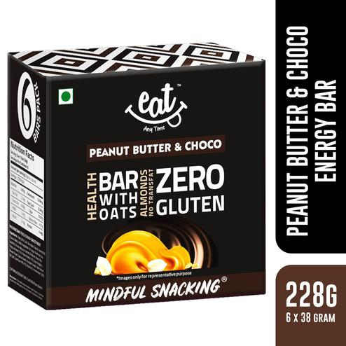 EAT Anytime Nutrition Energy Bars-Peanut Butter with Chocolate-228gms (Pack of 6)