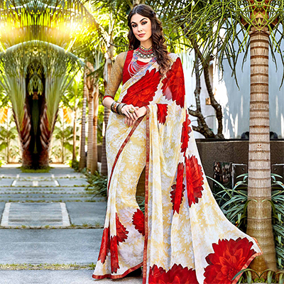 Red - Cream Floral Print Saree