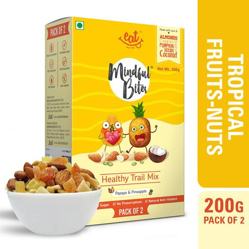 EAT Anytime Healthy Trail Mix with Papaya-Pineapple-Dry Fruit-Tropical Fruits-Nuts-200gms(Pack of 2x100g)
