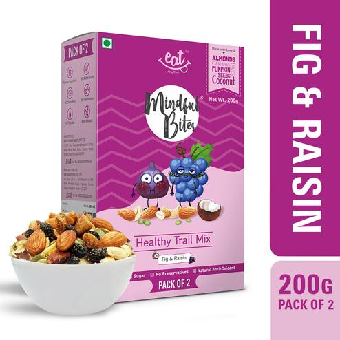 EAT Anytime Healthy Trail Mix with Figms& Raisin-Dry Fruit-Tropical Fruits-Nuts-200gms(Pack of 2x100g)