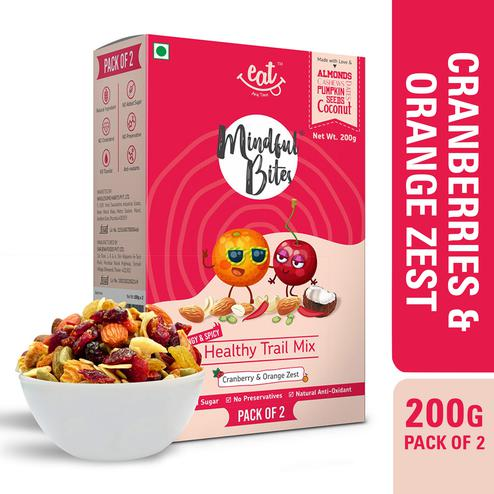 EAT Anytime Healthy Trail Mix with Cranberries-Orange Zest-Dry Fruit-Tropical Fruits-Nuts-200gms(Pack of 2x100g)
