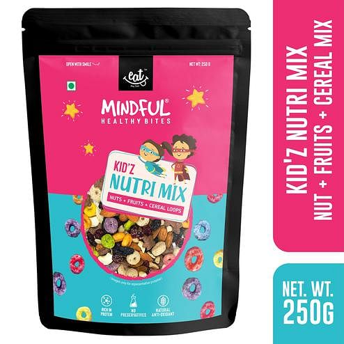 EAT Anytime Mindful Healthy Trail Mix Snack for Kids with Protein Rich Mix Nuts-Oat-Fruit Loops-250g