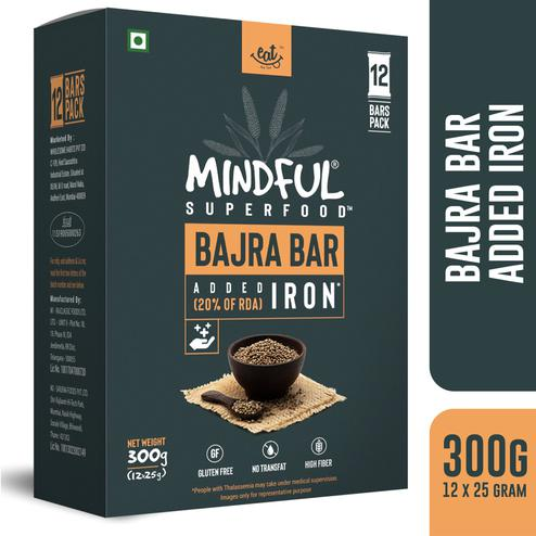 EAT Anytime Mindful Bajra Millet Snack Bars Loaded with Iron-300 gms(12 x 25g)