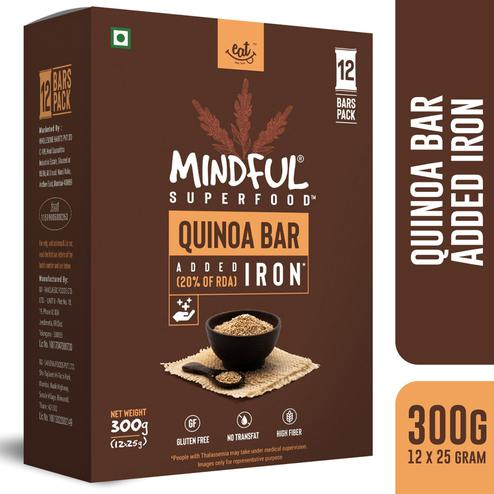 EAT Anytime Mindful Quinoa Millet Energy Bars Loaded with Iron-300 gms(12 x 25g)