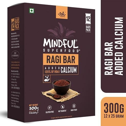 EAT Anytime Mindful Ragi Millet Snack Bars Loaded with Calcium-300 gms(12 x 25g)