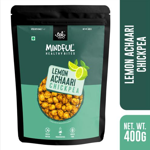 EAT Anytime Mindful Crunchy-Crispy Roasted Chick Peas Lemon Achari-Healthier Vegan-Gluten Free Snacks-400g