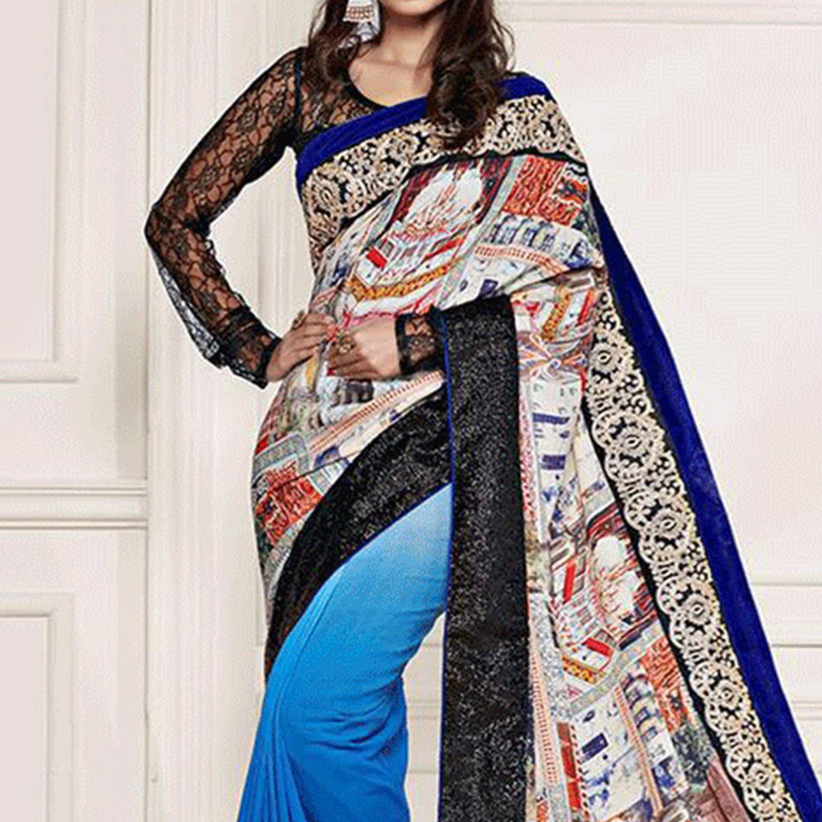 Multicolored Half & Half Fancy Saree